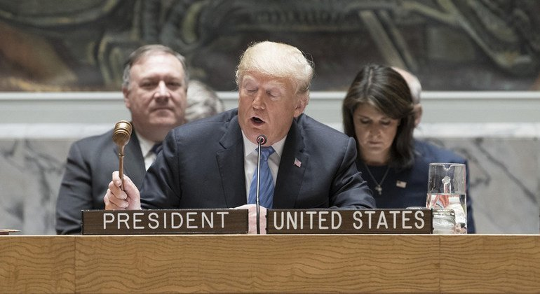 US President Donald Trump presides over a meeting of the Security Council on the non-proliferation of weapons of mass destruction on 26 September, 2018.