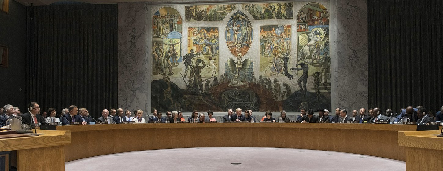 The UN Security Council meets to debate the non-proliferation of weapons of mass destruction on 26 September 2018.