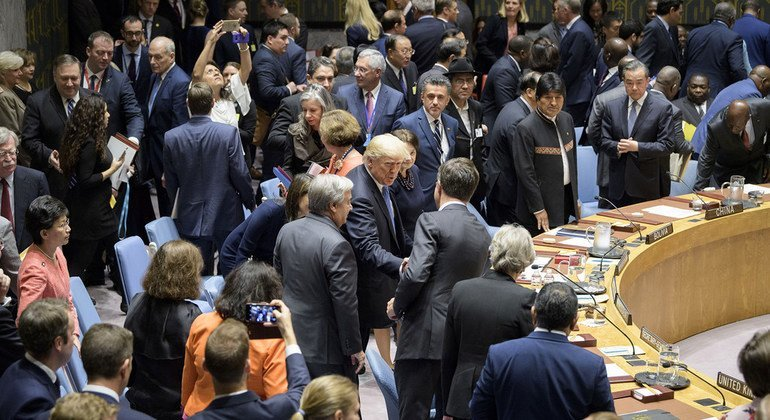 UN Security Council members, including US President Donald Trump (c), gather in the chamber ahead of a debate on the non-proliferation of weapons of mass destruction on 26 September 2018.
