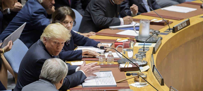 Os Estados Unidos presidem o Conselho de Segurança no mês de setembro .