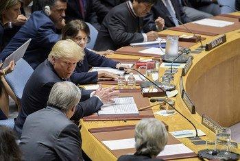 Президент Трамп с Генеральным секретарем Антониу Гутерришем - перед началом заседания Совбеза по иранской ядерной пррограмме