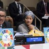 La vicesecretaria general de la ONU durante el evento de alto nivel para acabar con la tuberculosis.