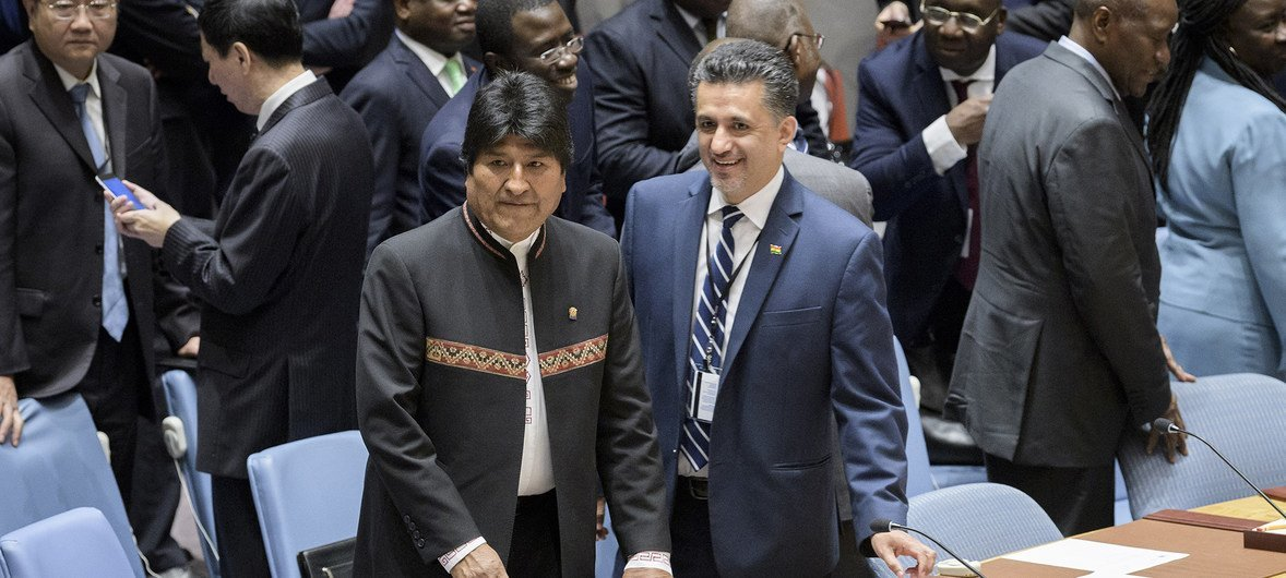 Evo Morales Ayma (left), President of the Plurinational State of Bolivia, and Sacha Sergio Llorenty Soliz, Permanent Representative of Bolivia to the United Nations, await the start of the Security Council meeting on the maintenance of international peace and security, with a focus on non-proliferation of weapons of mass destruction.