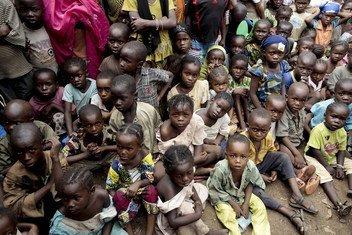 Niños desplazados internos en Bangui, capital de la República Centroaficana.