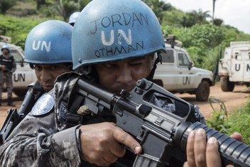 Members of a Jordanian formed police unit (FPU) serving in the United Nations Multidimensional Integrated Stabilization Mission in the Central African Republic (MINUSCA).