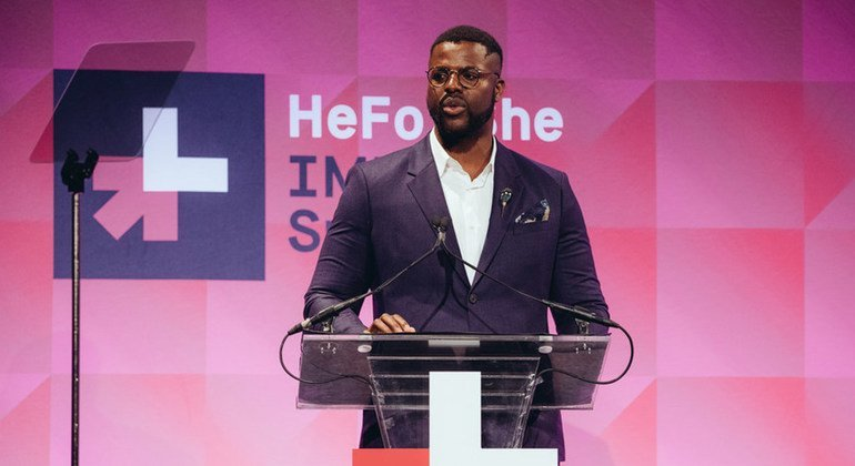 Actor and activist Winston Duke at the HeForShe IMPACT Summit in New York City on 26 September 2018.