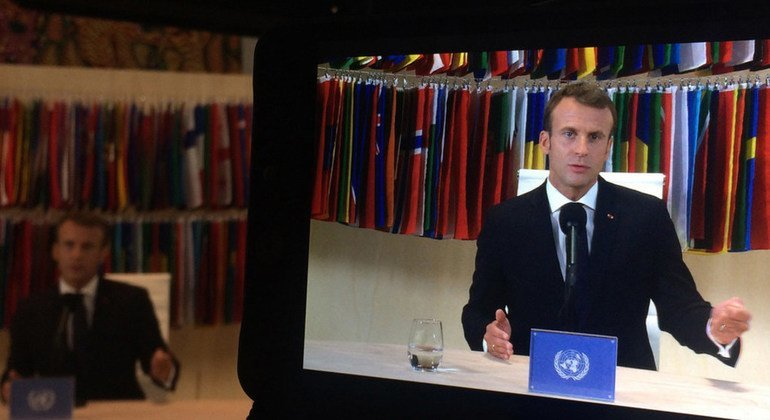 French President Emmanuel Macron participates in a Facebook Live event on 25 September 2018 at the United Nations Headquarters in New York.  25 September 2018.