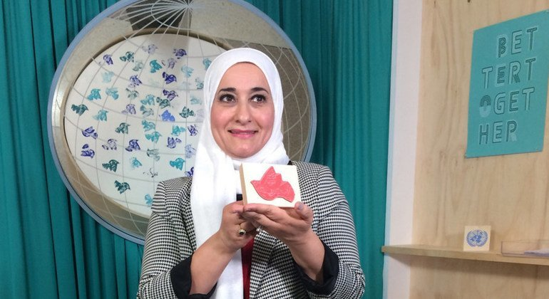 Celebrity chef and World Food Programme supporter, Manal al Alem of Jordan, appears at the VIP Social Media Studio at UN Headquarters on the margins of the seventy-third session of the UN General Assembly.  26 September 2018.