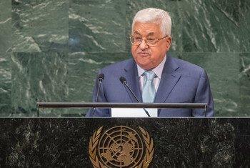 Presidente da Autoridade Nacional Palestina, Mahmoud Abbas discursa na Assembleia Geral.