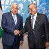Katibu Mkuu wa Umoja wa Mataifa Antonio Guterres (kulia) akikutana na Rais Mahmoud Abbas wa Palestina kwenye makao makuu ya UN jijini New York, Marekani