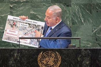 رئيس الوزراء الإسرائيلي بنيامين نتنياهو يتحدث أمام الجمعية العامة للأمم المتحدة.