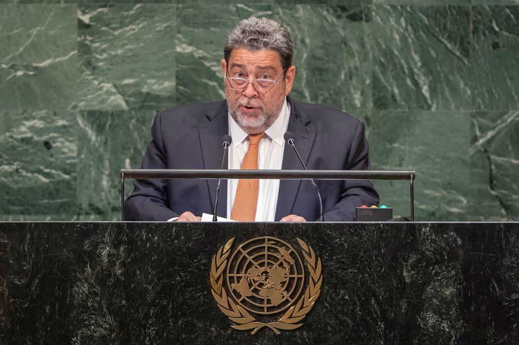 Prime Minister Ralph Gonsalves of Saint Vincent and the Grenadines addresses the seventy-third session of the United Nations General Assembly.