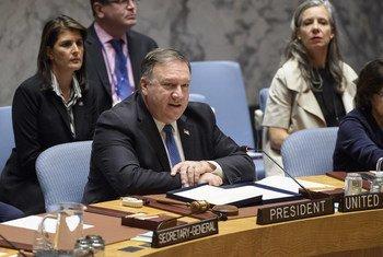 Secretário de Estado norte-americano, Mike Pompeo.