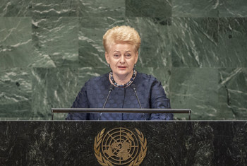 Dalia Grybauskaitė, President of the Republic of Lithuania, addresses the general debate of the General Assembly's seventy-third session.