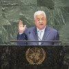 Rais wa Palestina, Mahmoud Abbas wakati akihutubia mjadala mkuu wa Baraza Kuu la Umoja wa Mataifa, kikao cha 73