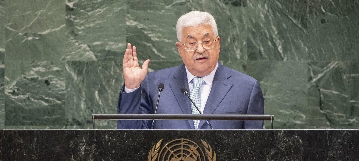巴勒斯坦总统阿巴斯在联大第73届会议一般性辩论中发言。