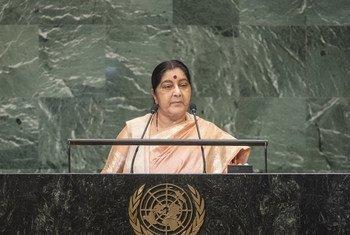 印度外长斯瓦拉吉今天在联大第73届会议一般性辩论中发言。