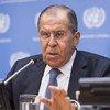 Министр иностранных дел России С.Лавров на пресс-конференции в ООН. 28 сентября 2018 года