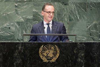 俄罗斯外交部长马斯(Heiko Maas)在联大第73届会议一般性辩论上发言。