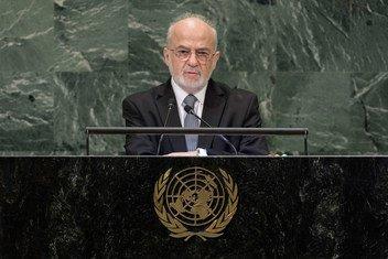 وزير الخارجية العراقي إبراهيم الجعفري يلقي كلمة بلاده في المداولات العامة للدورة الثالثة والسبعين للجمعية العامة.