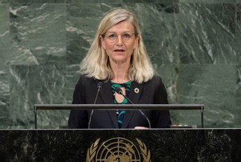 Ulla Tørnæs, Minister for Development Cooperation of Denmark, addresses the seventy-third session of the United Nations General Assembly.