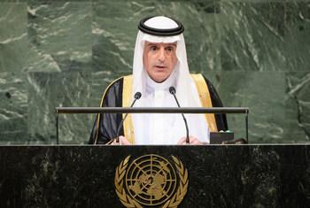 وزير خارجية المملكة العربية السعودية عادل الجبير يلقي كلمة بلاده في مداولات الدورة الـ 73 للجمعية العامة.