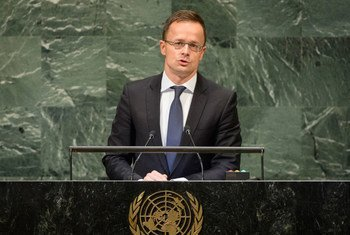 Foreign Minister Péter Szijjártó of Hungary addresses the seventy-third session of the United Nations General Assembly.
