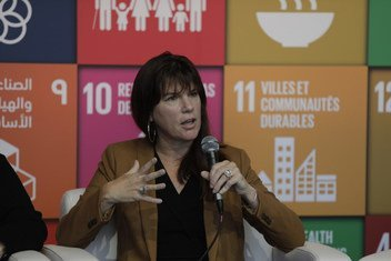 Claire Melamed, Executive Director, Global Partnership for Sustainable Development Data, at the United Nations SDG Media Zone on 27 September 2018.
