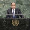Le Ministre russe des affaires étrangères, Sergueï Lavrov, devant l'Assemblée générale des Nations Unies.