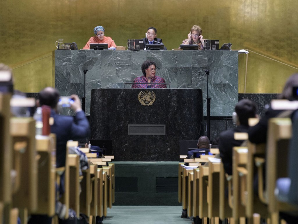 Prime Minister Mia Amor Mottley of Barbados addresses the seventy-third session of the United Nations General Assembly.
