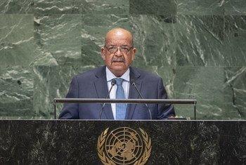 وزير الشؤون الخارجية الجزائري عبد القادر مساهل يلقي كلمة بلاده أمام الدورة 73 للجمعية العامة