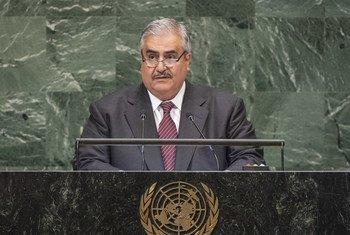 الشيخ خالد آل خليفة وزير خارجية مملكة البحرين يلقي كلمة بلاده أمام الدورة 73 للجمعية العامة للأمم المتحدة.