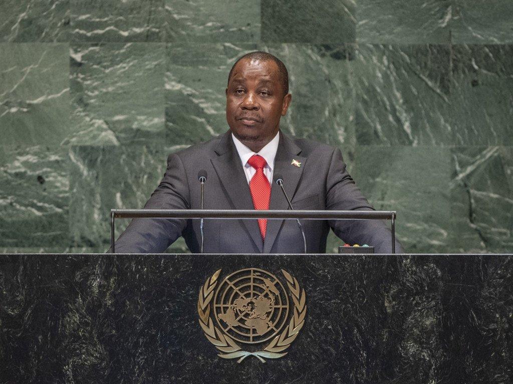 Le Ministre burundais des affaires étrangères, Ezéchiel Nibigira, devant l'Assemblée générale des Nations Unies.