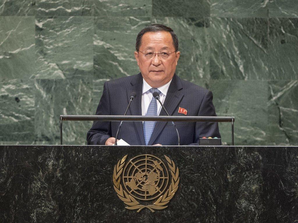 Le Ministre des affaires étrangères de la République populaire démocratique de Corée, Ri Yong Ho, prend la parole à la soixante-treizième session de l'Assemblée générale des Nations Unies.