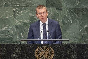 拉脱维亚外交部长埃德加斯 •林克维奇在联大第73届会议一般性辩论中发言。