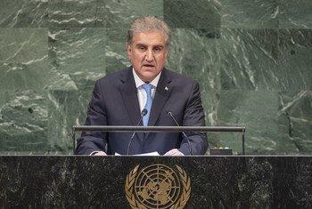 巴基斯坦外交部长沙阿·迈赫穆德·库雷希在联大第73届会议一般性辩论中发言。