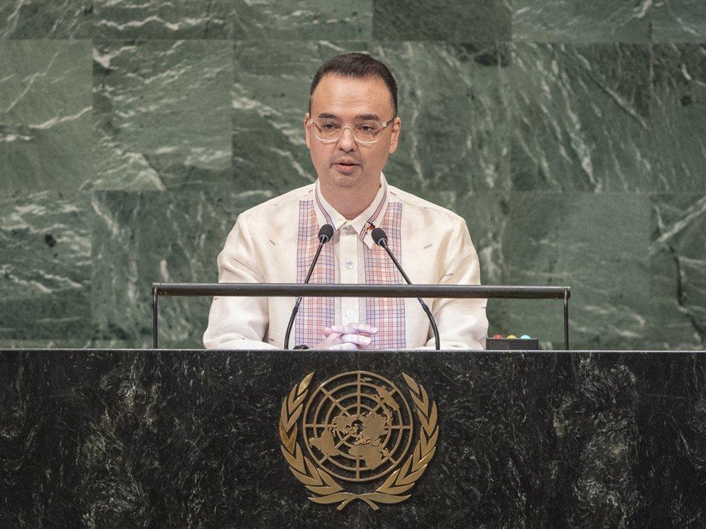 菲律宾外长卡亚塔诺(Alan Peter S.Cayetano)今天在联大第73届会议一般性辩论中发言。