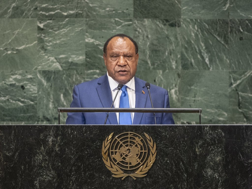 Rimbink Pato, Minister of Foreign Affairs and Trade of the Independent State of Papua New Guinea addresses the seventy-third session of the United Nations General Assembly.
