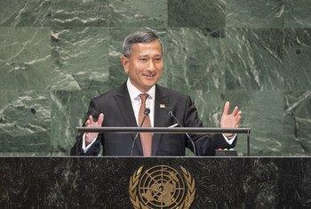 新加坡外长维文在联大第73届会议一般性辩论中发言。