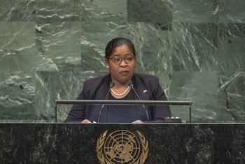 Foreign Minster Yldiz Pollack-Beigle of the Republic of Suriname addresses the seventy-third session of the United Nations General Assembly.