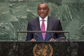 Le Ministre sénégalais des affaires étrangères, Sidiki Kaba, devant l'Assemblée générale des Nations Unies.