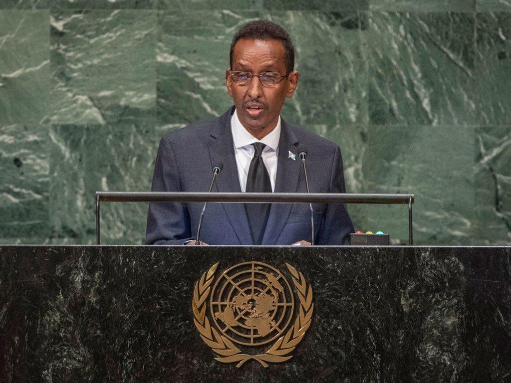 Waziri wa mambo ya nje wa Somalia Ahmed Awad Isse akihutubia mjadala wa Baraza Kuu la Umoja wa Mataifa kikao cha 73