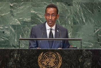 索马里外长阿瓦德(Ahmed Awad Isse)在联大第73届会议一般性辩论上发言。