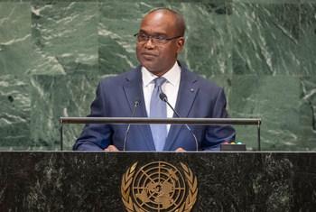 Le Ministre des affaires étrangères du Burkina Faso, Alpha Barry, devant l'Assemblée générale des Nations Unies.