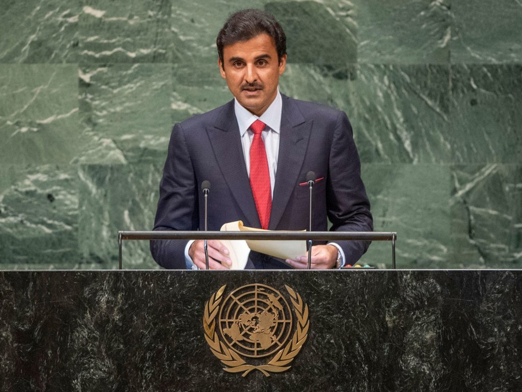 His Highness Sheikh Tamim bin Hamad Al-Thani, Amir of the State of Qatar, addresses the general debate of the General Assembly's 73rd session.