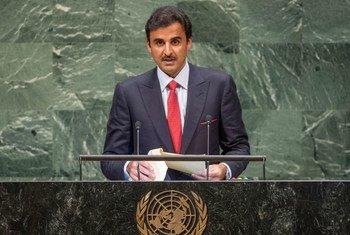 卡塔尔元首埃米尔塔米姆(Tamim Bin Hamad Al-Thani)在联大第73届会议一般性辩论中发言。