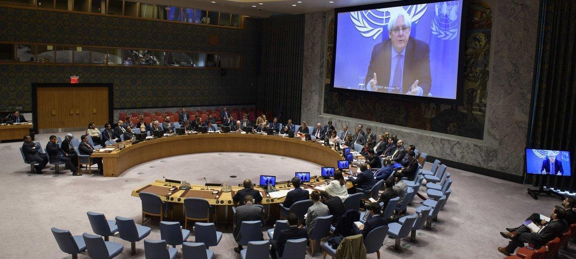 El enviado especial para Yemen, Martin Griffiths, informa al Consejo de Seguridad desde Amman, Jordania