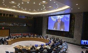 सुरक्षा परिषद को जानकारी देते हुए यमन के लिए विशेष प्रतिनिधि मार्टिन ग्रिफ़िथ्स.