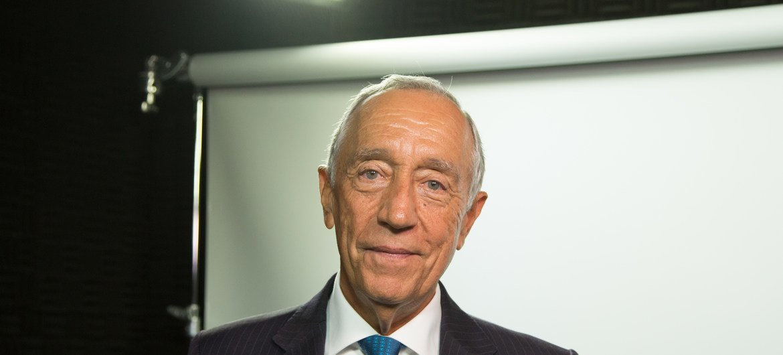 Presidente de Portugal, Marcelo Rebelo de Sousa, nos estúdios da ONU.