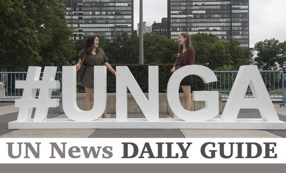 Young students visiting UNHQ from Turkey pose at the #UNGA sign at the Visitors Plaza.